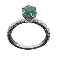 The Rustic Charm Emerald Pretty Ring In 18 Kt White Gold