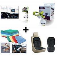 Combo - Car Micro Cleaning Cloth Car Wooden Bead Seat Cushion With Grey Velvet Border