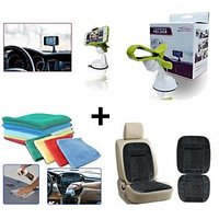 Combo - Car Micro Fibre Cleaning Cloth Car Wooden Bead Seat Cushion With Black Velvet Border