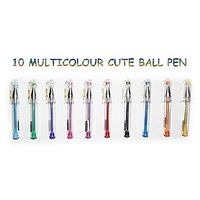 MULTICOLOR CUTE BALL PENS PACK OF 10 (Deal Offer)