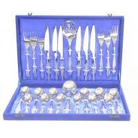 Lacuzini 26Pcs Oval Satin Finish Cutlery Set In Velvet Box