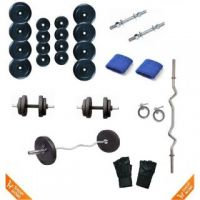 30 KG WELKIN WEIGHT LIFTING HOME GYM SET + 3 FT E Z CURL BAR + 2 DUMBELLS ROD