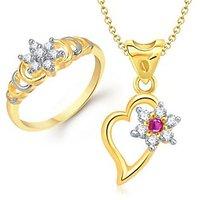 VK Jewels Beautiful Flower Combo Ring & Pendant- VKCOMBO1120G