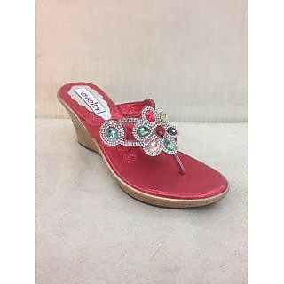 Novelty Party Wear Red Wedges