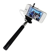 EI  Extendable Selfie Stick With Aux Cable Hand Held Monopod - Black