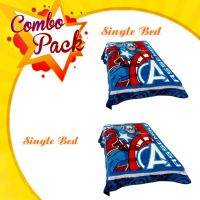 COMBO PACK OF 2 PEACE - DISNEY CAPTAIN AMERICA PRINTED SINGLE BED BLANKET