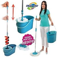 Magic Mop Wet Floor Cleaner 360' Spin Hand Press + Free 2 Mop Heads + FREE SHIP