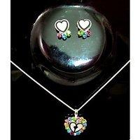 Heart Shape Pendant Stud Earring Set For Kids/Girls>Smart Gift Item