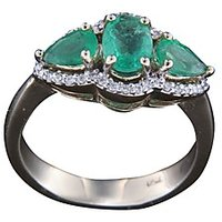 Exquisite Emerald Ring In 18 Kt White Gold - Brilliant Oval And Pear Cut Emerald
