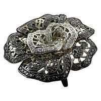 Beautiful Black Rose Ring On 18 Kt White Gold