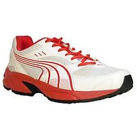 Puma Sturdy White And Red Running Shoes