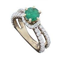 Emerald Lantern Ring - 18 Kt White Gold - 72860026