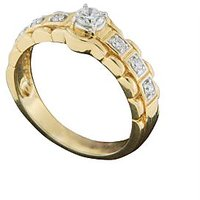 18 Kt Yellow Gold Brilliant Round Cut Diamond Ring