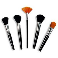 Face Makeup Brush Set - Cosmetic Brush - FMB - Set Of 5 Brushes With Pouch-TinGe