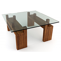 Afydecor Square Glass Coffee Table With Wooden Legs