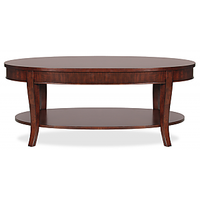 Afydecor Oval Wooden Coffee Table  With Slanting Legs And Shelf