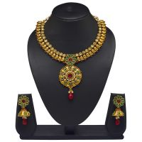 VK Jewels Beautiful Pendant Gold Plated Necklace With Earrings- NKS1105G [VKNKS1105G]