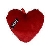 Unica Imported Soft And Furry Heart Shape Cushion In Red Colour