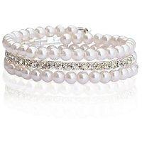 CZ Stone And Pearl Bracelet By Sparkling Jewellery (Free Size)