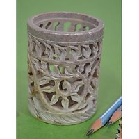 Artist Haat Hand Carved Natural Soapstone Pen Stand Gift.