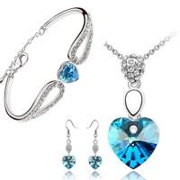 Cyan Heart Pendant Of Love With Earrings And Heart Bracelet Combo