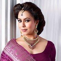 Mithya Elegant Purple & Green Necklace Set With Maang Tikka - 2000112