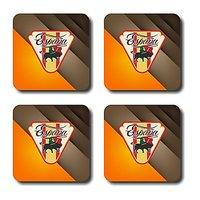 Anger Beast Stylish Square Coasters With Mirror Finish - Set Of 4 SB00154