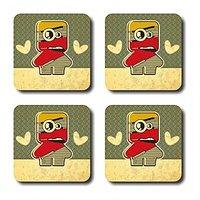 Anger Beast Stylish Square Coasters With Mirror Finish - Set Of 4 SB00199