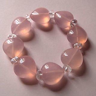 Rose Quartz Heart Shaped Beads Bracelet
