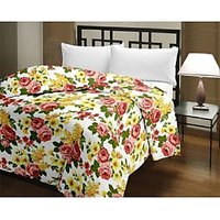 Blanket Bazaar Red & Yellow & Green Floral Print Reversable Single AC Quilts