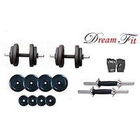 Dreamfit 12kg Adjustable Dumbell Rubber Plates Grip Dumbell Rod Gym Gloves