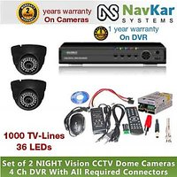 2 DOME CAMERA 36 IR 1000 TVL 2 YR WRNTY & 4 CH DVR 1 YR WRNTY, SUPPLY, CONNECTOR