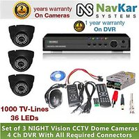 3 DOME CAMERA 36 IR 1000 TVL 2 YR WRNTY & 4 CH DVR 1 YR WRNTY, SUPPLY, CONNECTOR