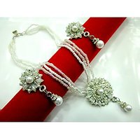 JAD Brand High Selling Awesome Pearl Stimulant Flower Pattern Moti Haar Set