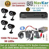 4 BULLET CAM 36 IR 1000 TVL 2 YR WRNTY & 4 CH DVR 1 YR WRNTY, SUPPLY, CONNECTOR