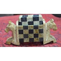 Artist Haat Hand Crafted Soapstone  Horse Shaped Coasters And Holder (Set Of 6)