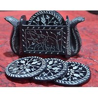 Artist Haat Hand Crafted Black Stone Snake Shaped Coasters And Holder (Set Of 6)