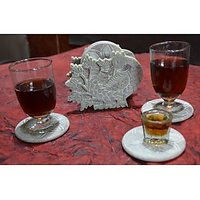 Artist Haat Hand Crafted Natural Soapstone Peacock With The Turned Neck Coasters