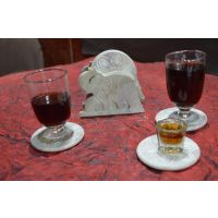 Artist Haat Hand Crafted Natural Soapstone Elephant Shaped Coasters - 73141224