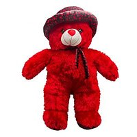 Glitters:Cute Standing Teddy With Fine Printed Cap Black-Red(30 Inch)