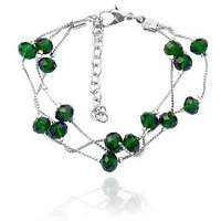 Beadworks Crystal Beads Green Beaded Bracelet