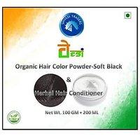 Organic Hair Color Powder-Soft Black 100 Gm & Herbal Hair Conditioner 200 Ml