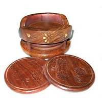 Olineshoppe  Handcarved Wooden Coaster Set With Brass Inlay Work (L/W/H - 4.2 ""