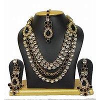 Vintage Style Dazzling Kundan Necklace Set In Black