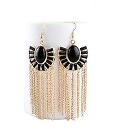 Jewel Touch Fashion Statement Black Gemstone And Gold Tassel Dangler Earrings