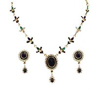 14Fashions Elegant Purple & Green Gold Plated Necklace Set - 1100123