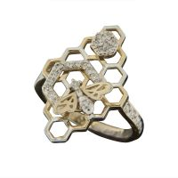 The Bee And Hive Ring Elegantly Crafted With Diamonds In 18 Kt White Gold