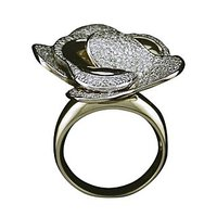 A Petal Layered Diamond Ring In 18 Kt White Gold