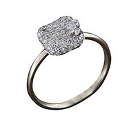 A Diamond Cluster Cushion Ring In Round Cut Diamonds - 18 Kt White Gold