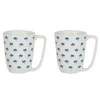 Tea / Coffee Mug -  Printed Burberry Mug - Porcelain Mug Set - 2 Pc - By Azure